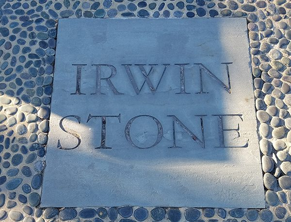 Irwin stone carved on a flagstone