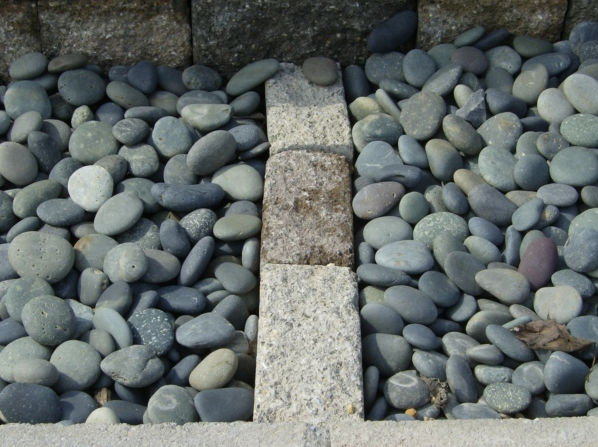 Stone gravel and cement pavers