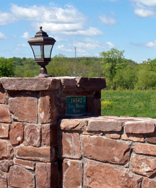 Red stone entrance wall