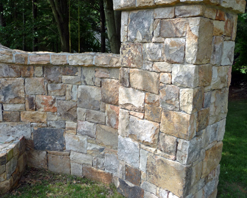 Pattered stone wall and column
