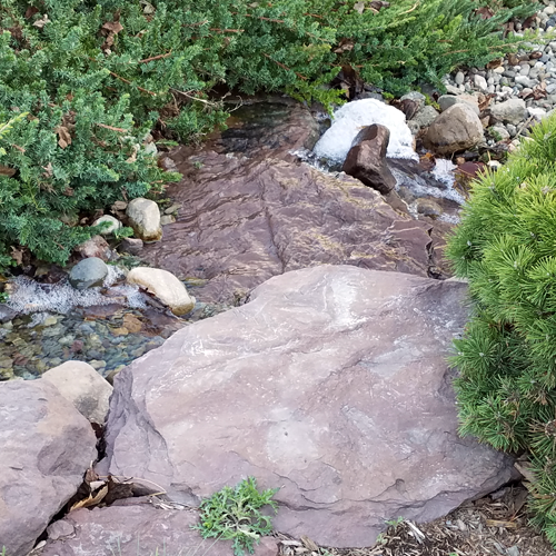 A carefully-designed stream with gravel