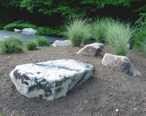 Boulders add aesthetic appeal to a landscape