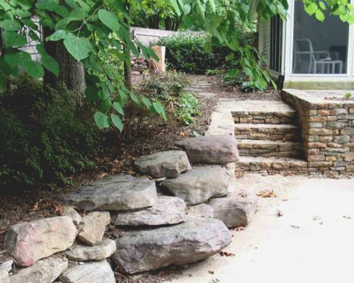 Boulders protecting a property